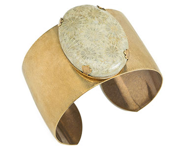 Wide Oval Cuff with Fossilized Coral